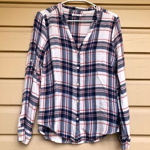 Kenneth Cole Reaction Plaid Button Down Shirt Top